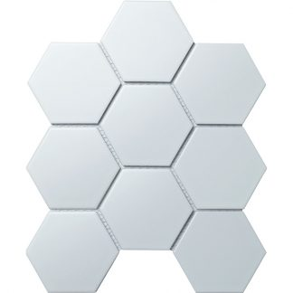 Мозаика-25.6×29.5-Hexagon-big-White-Matt-сетка