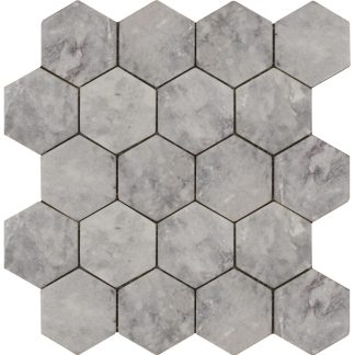 Мозаика-27.5х30.5-Hexagon-Lg-Tumbled-74×74-270x305x9-натур.мрамор-сетка