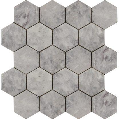 Мозаика-27.5х30.5-Hexagon-Lg-Tumbled-74×74-270x305x9-натур.мрамор-сетка