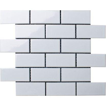 Мозаика-28.8×29.4-Brick-White-Glossy-сетка