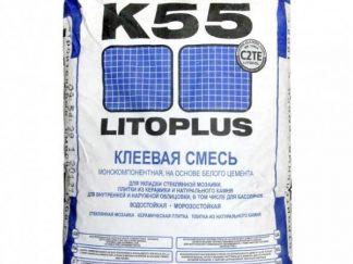 Клеевая смесь для мозаики и плитки до 150×150 мм. Litoplus K55, 25кг