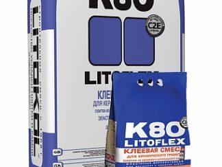 Клей Litoflex K80 ECO Беспылевой для внут. и наруж. теплый пол, керамогранит кер.плитка 25кг