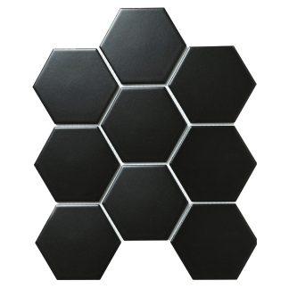 Мозаика 25.6×29.5 Hexagon big Black Matt (сетка)