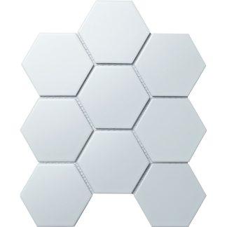 Мозаика 25.6×29.5 Hexagon big White Matt (сетка)