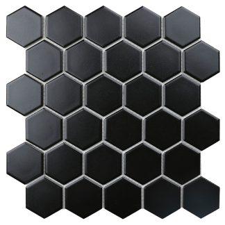 Мозаика 27.2×28.2 Hexagon small Black Matt сетка