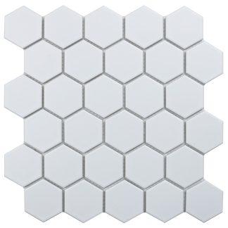 Мозаика 27.2×28.2 Hexagon small White Matt сетка