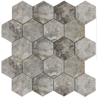 Мозаика 27.5х30.5 Hexagon LgP 74×74  270x305x9, натур.мрамор (сетка)