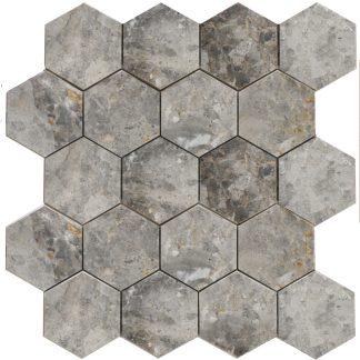 Мозаика 27.5х30.5 Hexagon LgP 74×74  270x305x9, натур.мрамор (сетка)
