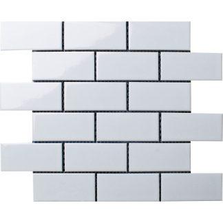 Мозаика 28.8×29.4 Brick White Glossy (сетка)
