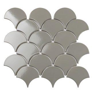 Мозаика 29.3×27.4 Fan Shape Dark Grey Glossy (сетка)