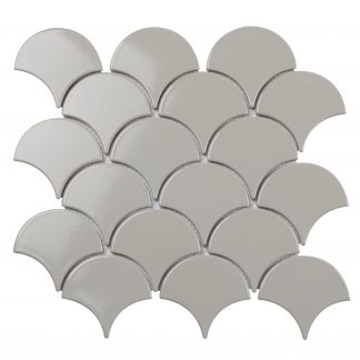 Мозаика 29.3×27.4 Fan Shape Light Grey Glossy (BF1912) 293x274x6  (сетка)