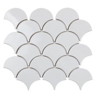 Мозаика 29.3×27.4 Fan Shape White Glossy (BF1911) 293x274x6 (сетка)