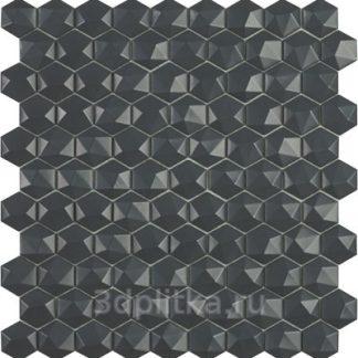 Мозаика 30,7×31,7 Nordic Hex № 908 D темно-серый (сетка)