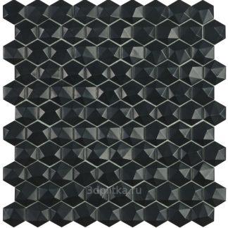 Мозаика 30,7×31,7 Nordic Hex №903 D черный (сетка)